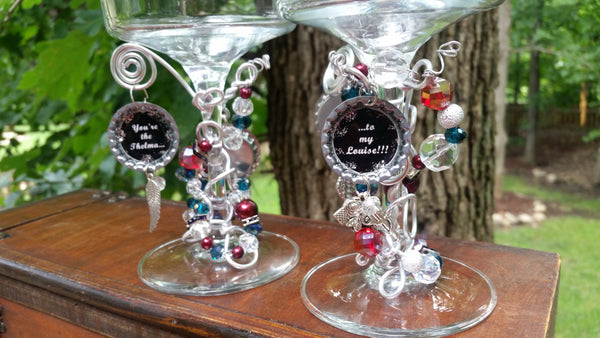 "2 Sided ""Thelma and Louise"" Wine Glasses"