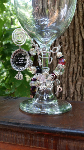 """Forty and Fabulous"" Wine Glass"