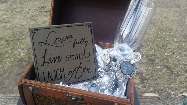 """Time For Me To Fly!"" Champagne Glass Gift Trunk"