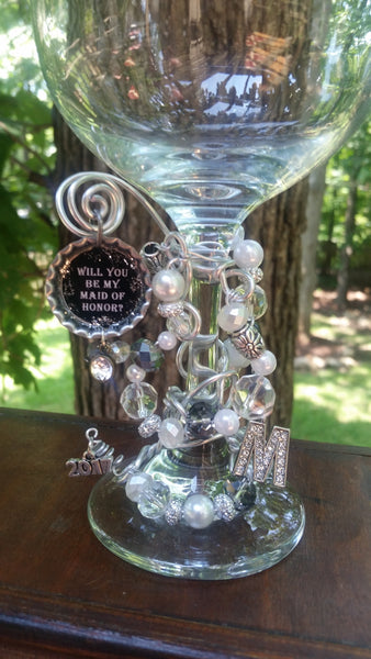 """Will You Be My Maid/Matron of Honor?"" Wine Glass"