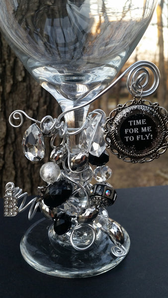 """Time for Me to Fly!"" Wine Glass"