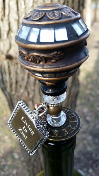 "Antique Bronze ""Living In Zin!"" Wine Stopper"