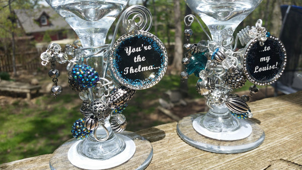Thelma and Louise Beaded Wine Glasses