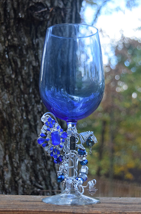 Believe in the Crown Blue Wine Glass