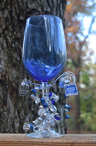 World Series Crown Blue Wine Glass
