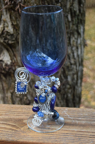 World Series KC Sparkle Blue Wine Glass