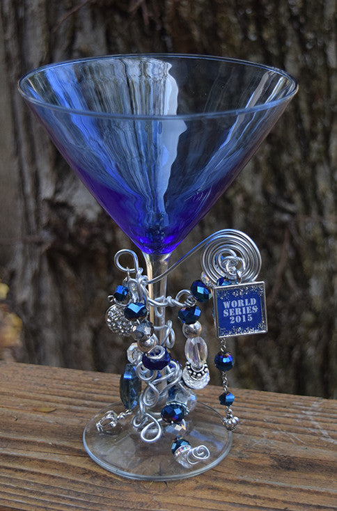 World Series Blue Martini Glass