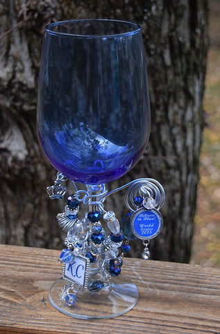 World Series Blue Wine Glass