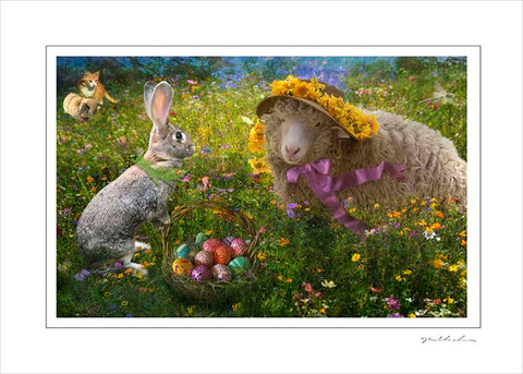 Handmade Art Card- Sweet Pea and the Easter Bunny