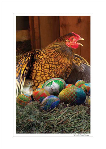Handmade Art Card- Mother Hen's Surprise