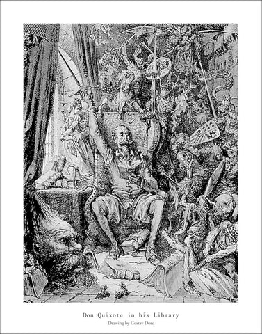 D128 - Dore, Don Quixote in his Library, 22 x 28