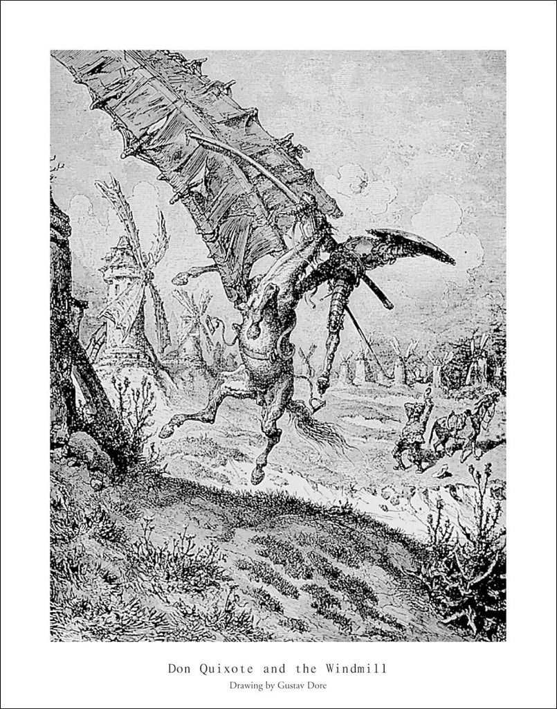 D129 - Dore, Don Quixote and Windmill, 22 x 28