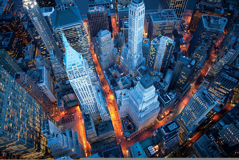 NY888 - Cameron Davidson, Aerial View of Wall Street, 24 x 36