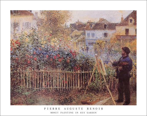 R122 - Renoir - Monet Painting in His Garden, 22 x 28