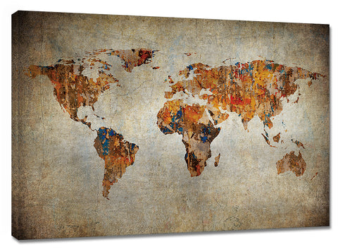CNV238 World Map Canvas 24in x 36in