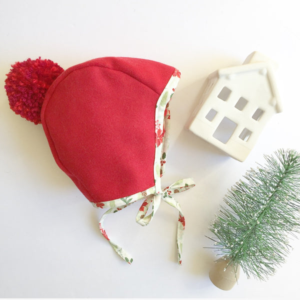 SOLD OUT - Poinsettia Red Pom Bonnet