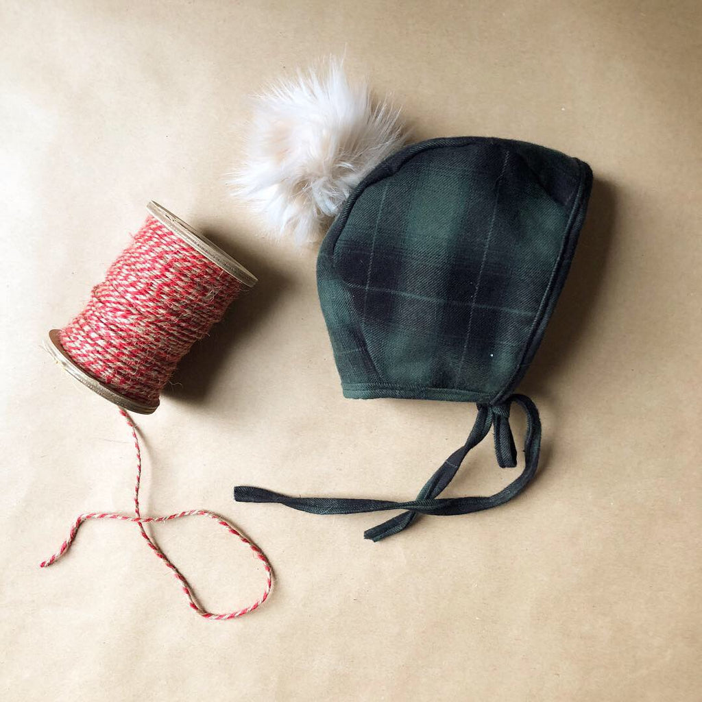 Evergreen Flannel Bonnet
