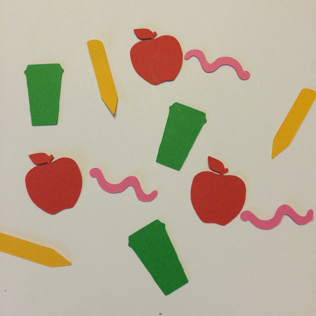 Coffee Cup, Apple, Worm, Pencil, Confetti, NatureCuts