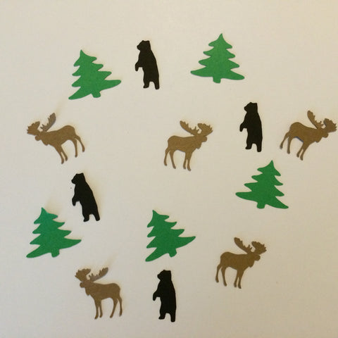 Bear, Moose, Tree, Confetti, Party Supplies, NatureCuts