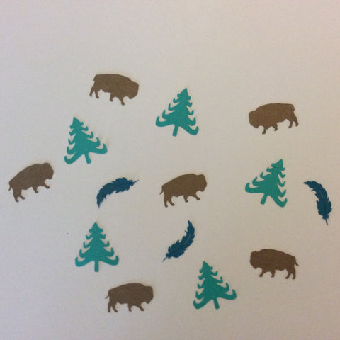 Buffalo, Bison, Feather, Tree, Confetti, NatureCuts