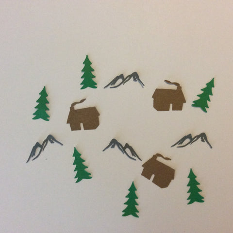 Cabin, Mountain, Tree, Confetti, Party Supplies, NatureCuts