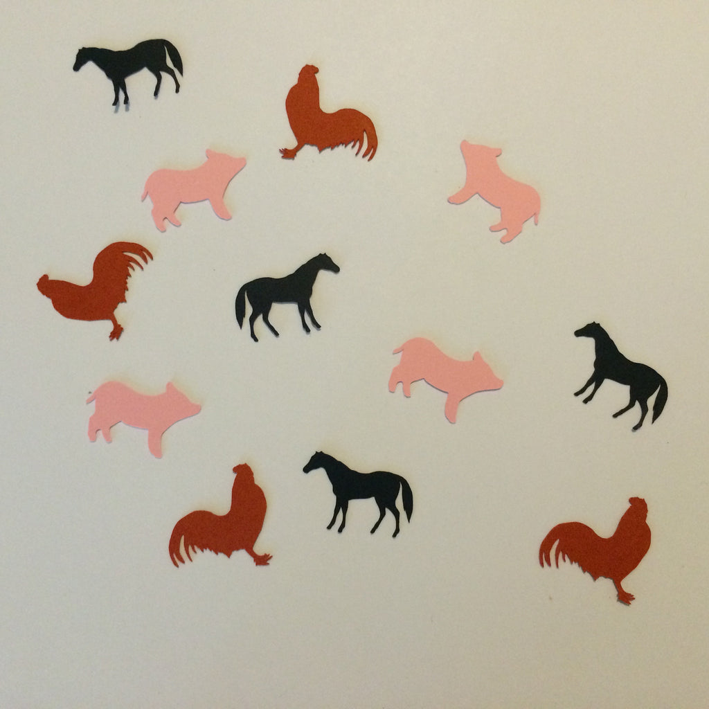 Rooster, Pig, Horse, Farm Animals, Confetti, NatureCuts