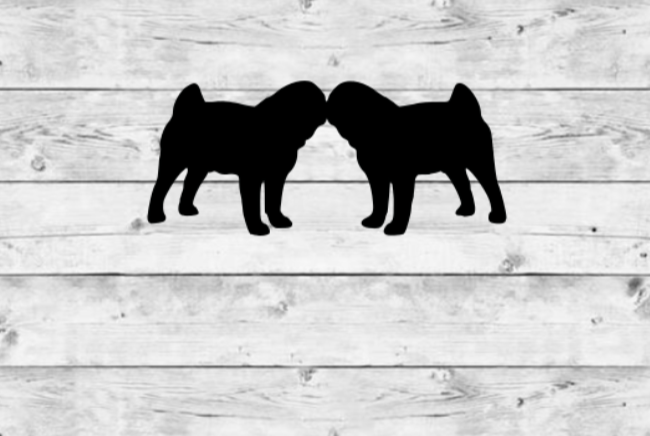 Kissing Pugs Vinyl Stickers