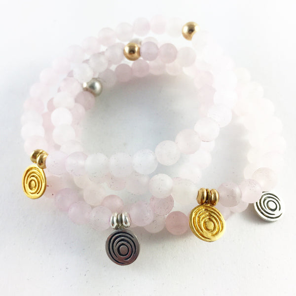The Awakening Bracelet - Women's Matte Rose Quartz & Gold