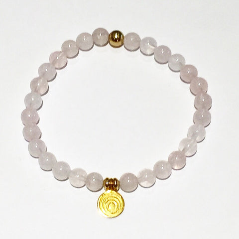 The Awakening Bracelet - Women's Clear Rose Quartz & Gold