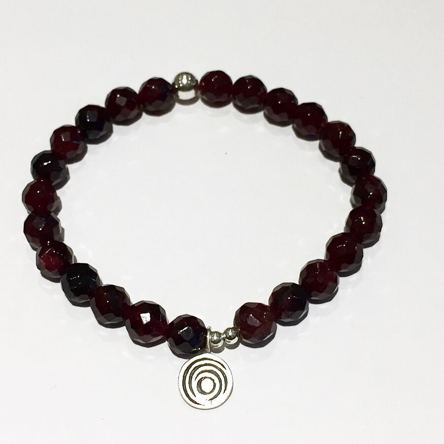 The Awakening Bracelet - Bezeled Garnet & Silver (women)