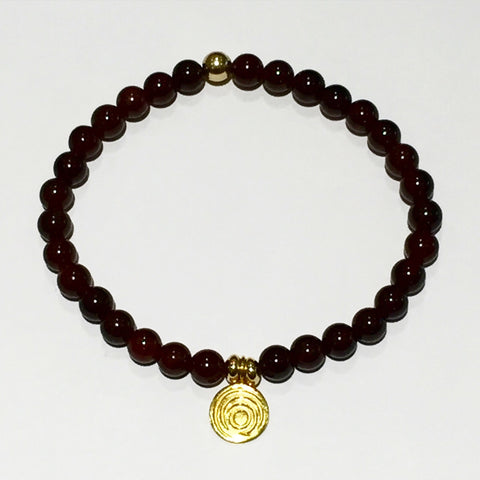 The Awakening Bracelet - Smooth Garnet & Gold (women)