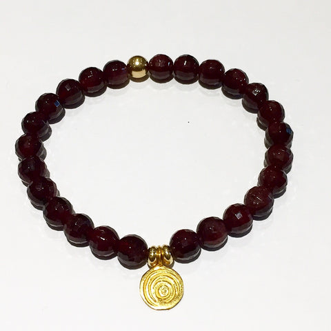 The Awakening Bracelet - Bezeled Garnet & Gold (women)