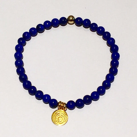 The Awakening Bracelet - Aqua Lapis (small bead) & Gold (women)