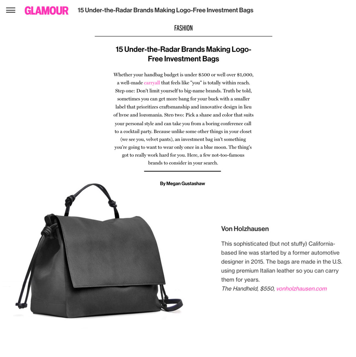 Glamour 15 Under The Radar Brands Making Logo Free Investment Bags