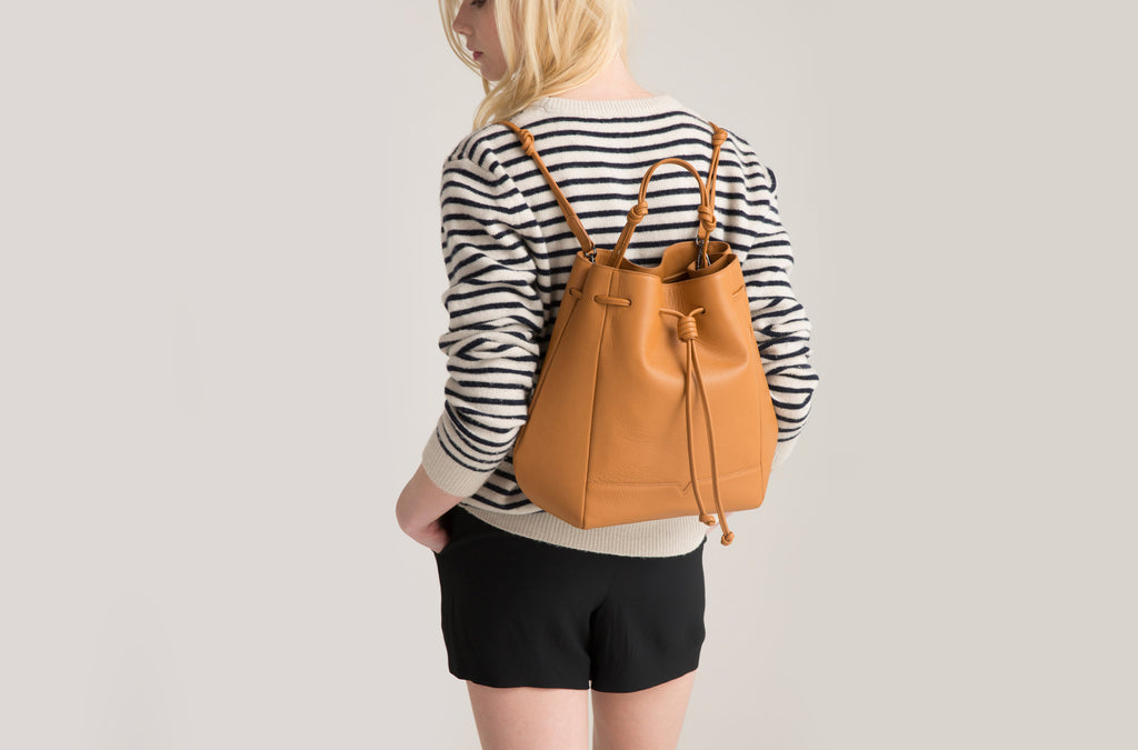 The Bucket Backpack in Caramel