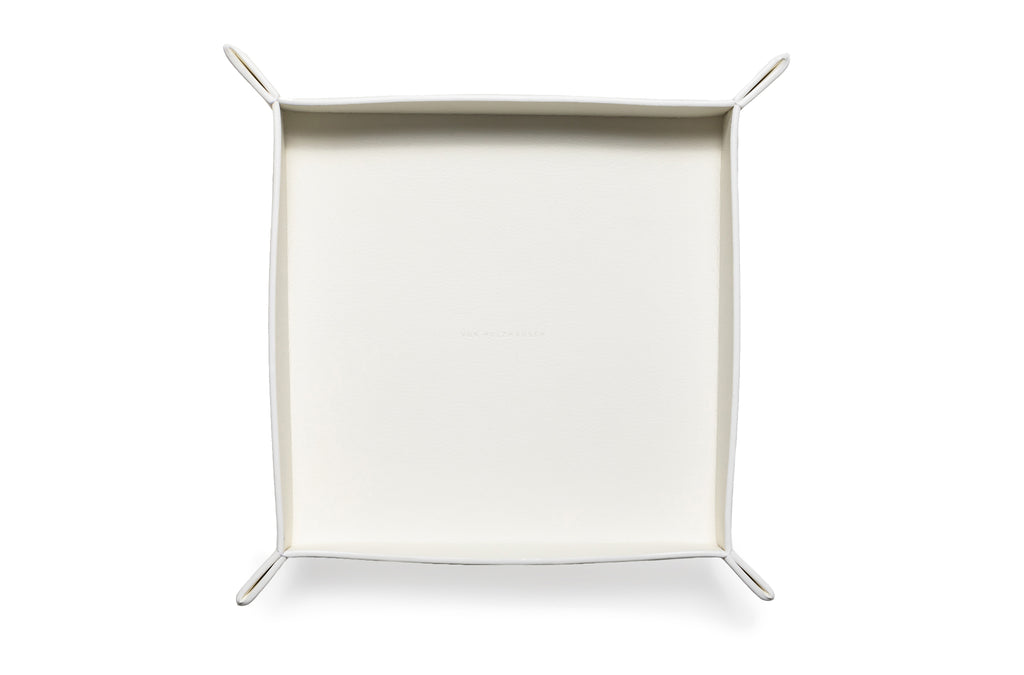 The Large Tray in Technik-Leather in White