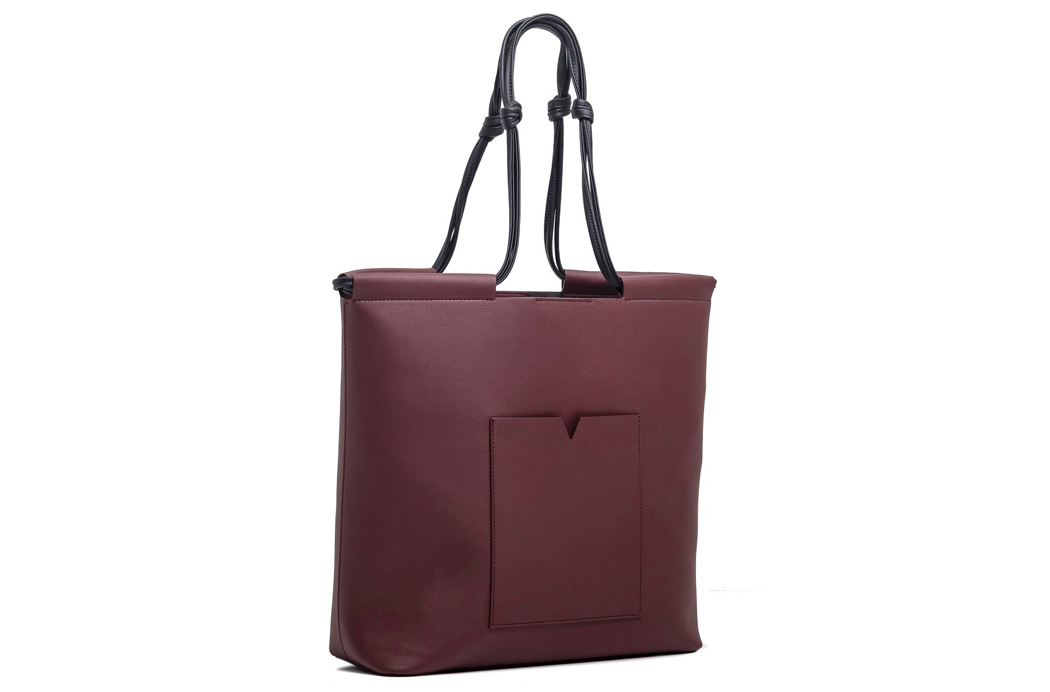 The Market Tote in Technik-Leather in Burgundy and Black
