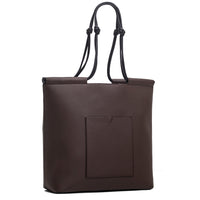The Market Tote in Technik-Leather in Taupe and Black