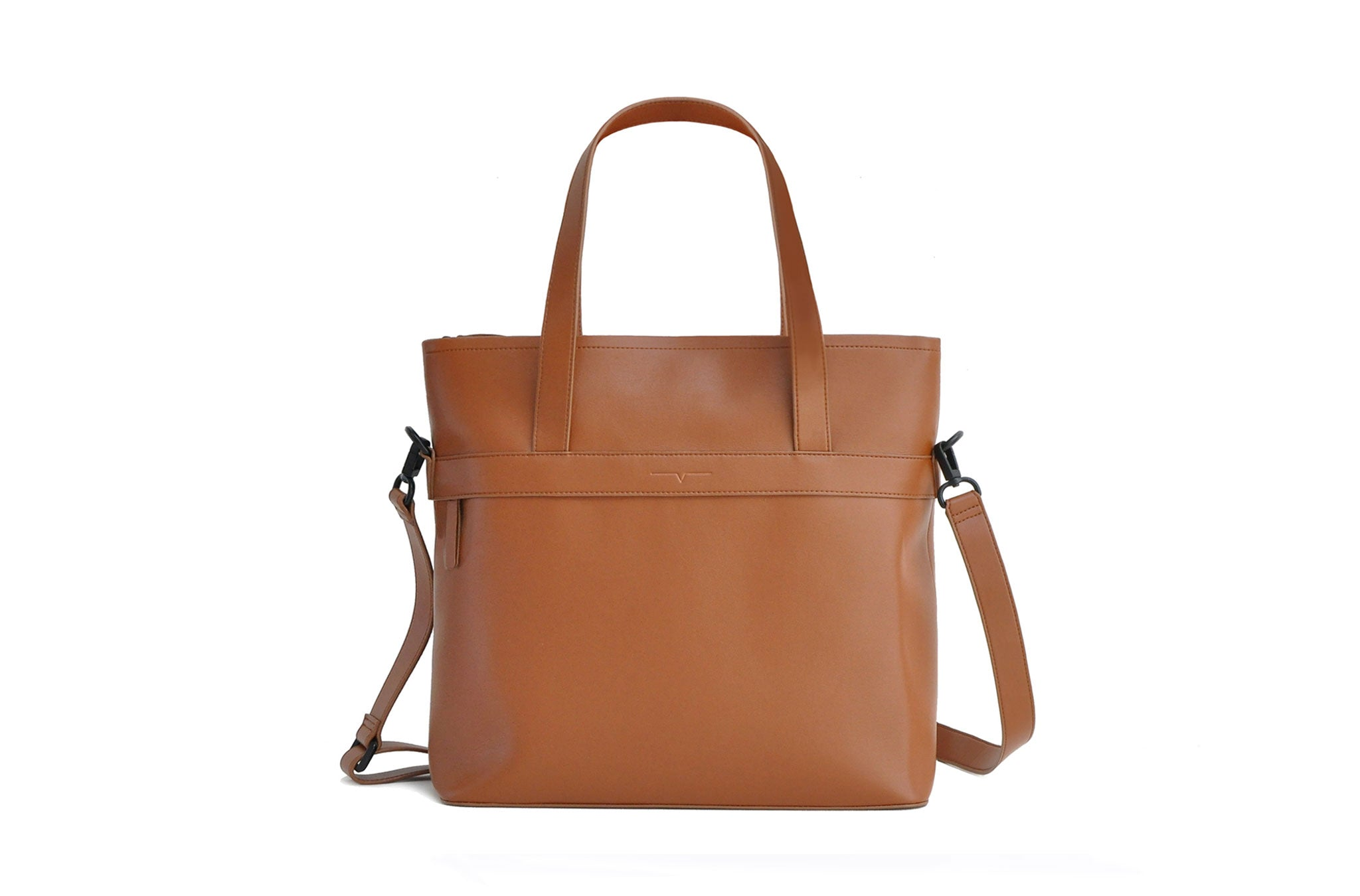 The Zipper Tote in Technik-Leather in Cognac