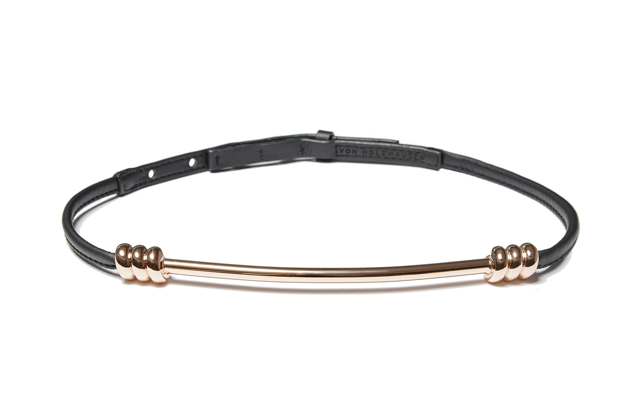 The Metal Belt in Light Gold & Black Technik-Leather