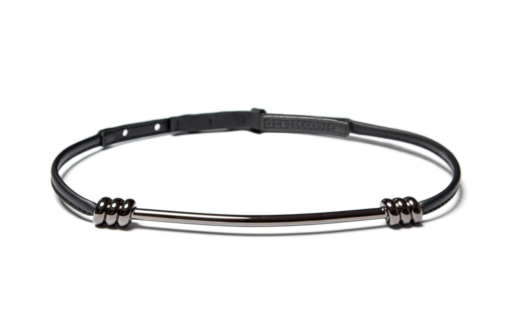 The Metal Belt in Gunmetal & Black Technik-Leather