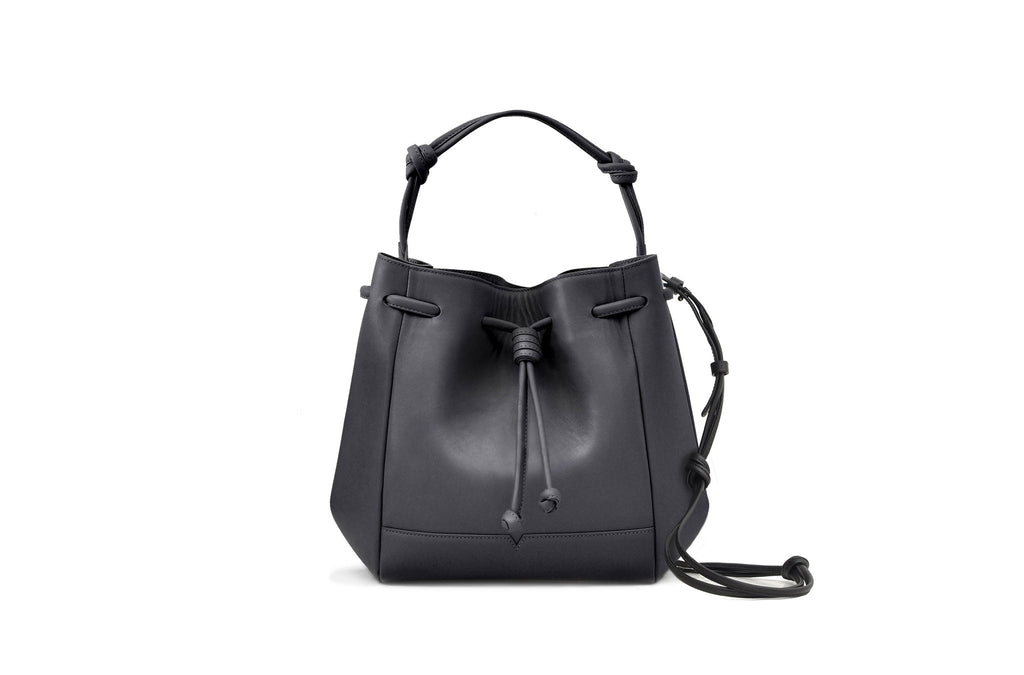 The Mini Bucket Crossbody in Technik-Leather in Black