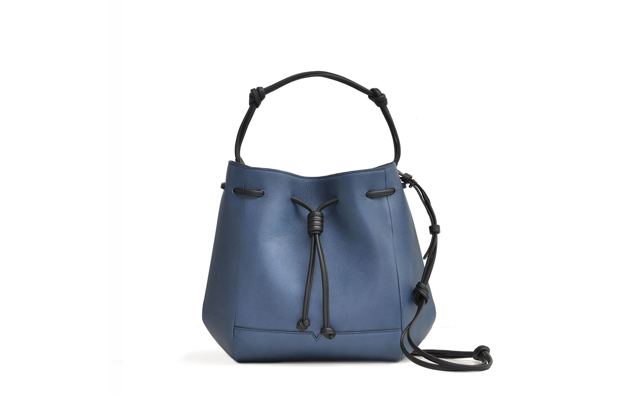 The Bucket Crossbody in Technik-Leather in Denim and Black