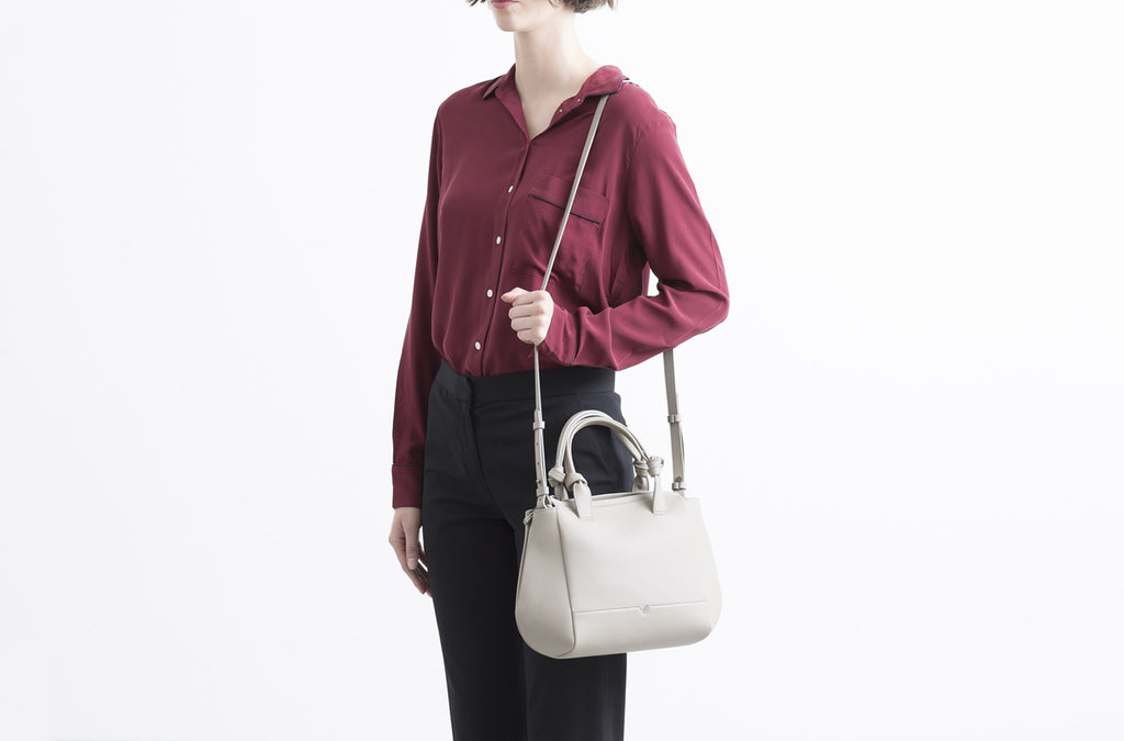 The Mini Duffel Crossbody in Stone