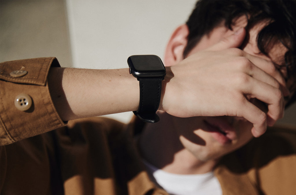 The 24mm Watch Band in Technik-Leather in Black