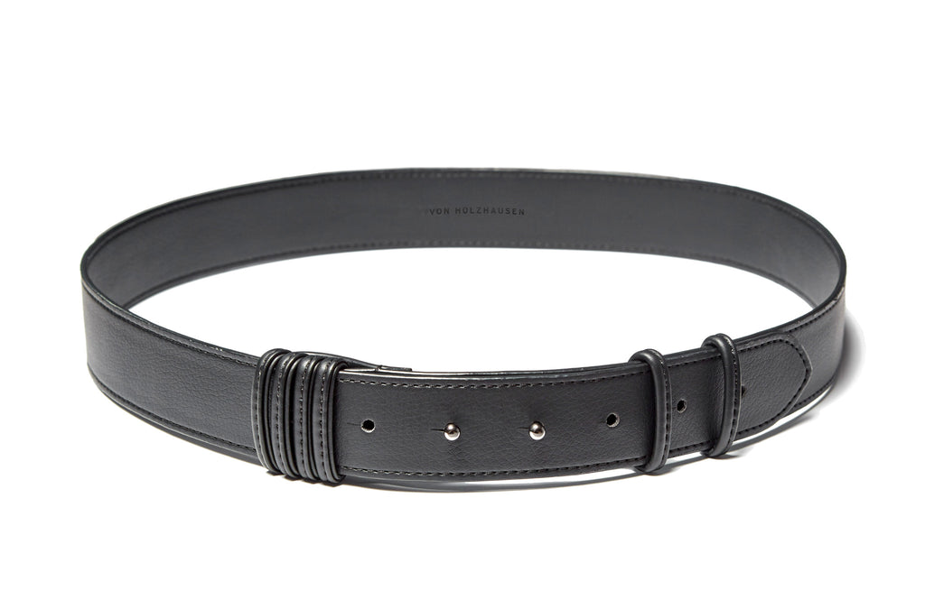 The Wide Coil Belt in Black Technik-Leather