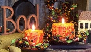 Candy Corn Hand Caked Pillar Candle