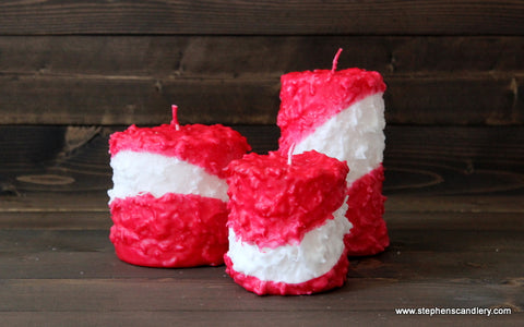 Candy Cane Hand Caked Pillar Candle