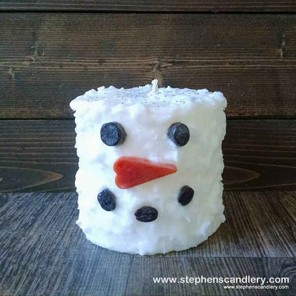 Snowman Hand Caked Pillar Candle™