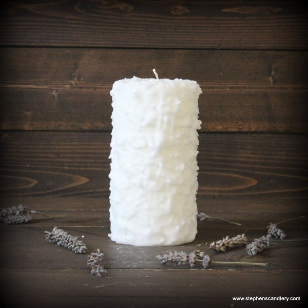 Lavender Hand Caked Pillar Candle™
